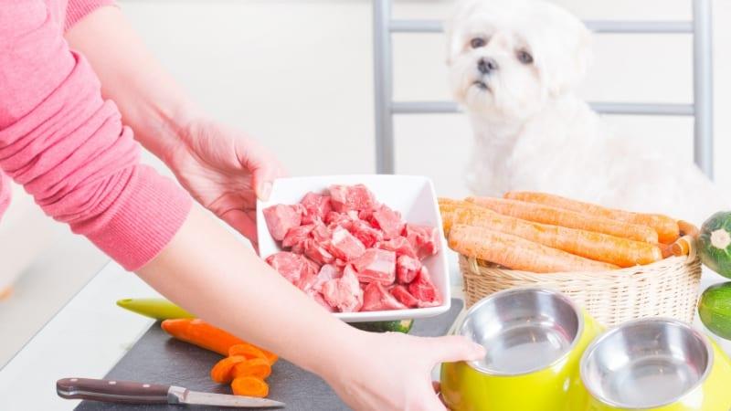 Preparing a natural dog diet