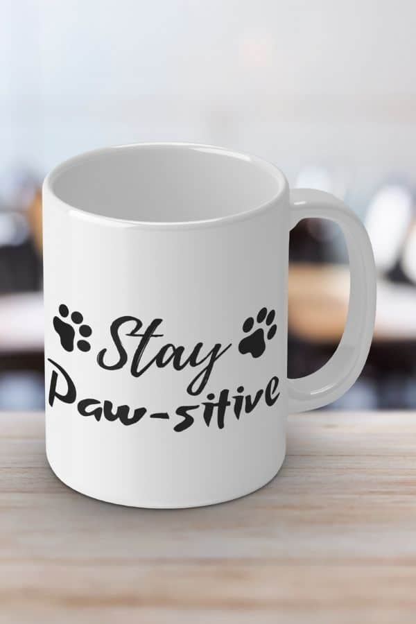 'Stay Paw-sitive' White Ceramic Mug