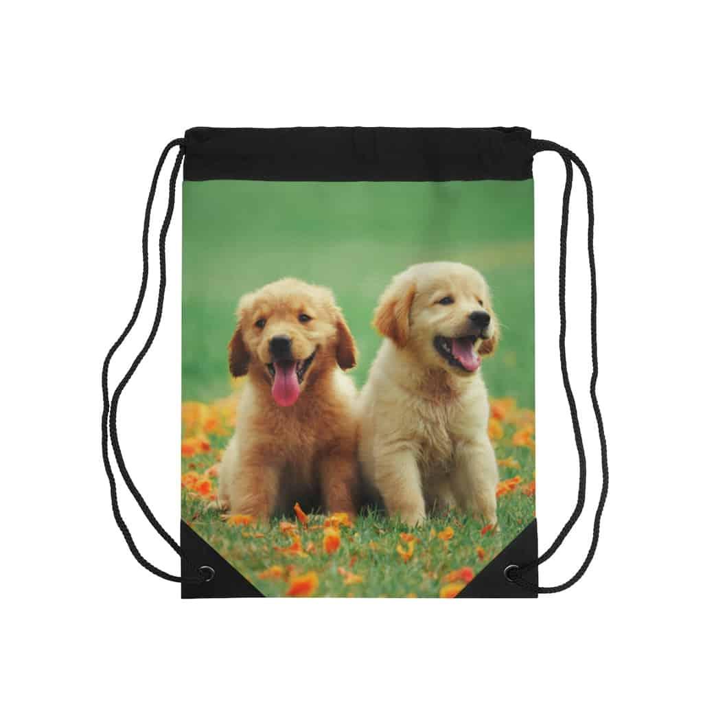 Drawstring Backpack Golden Retriever Dog Bags