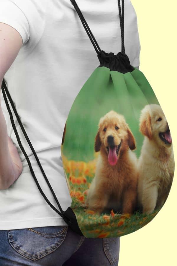 Golden Retriever Drawstring Bag