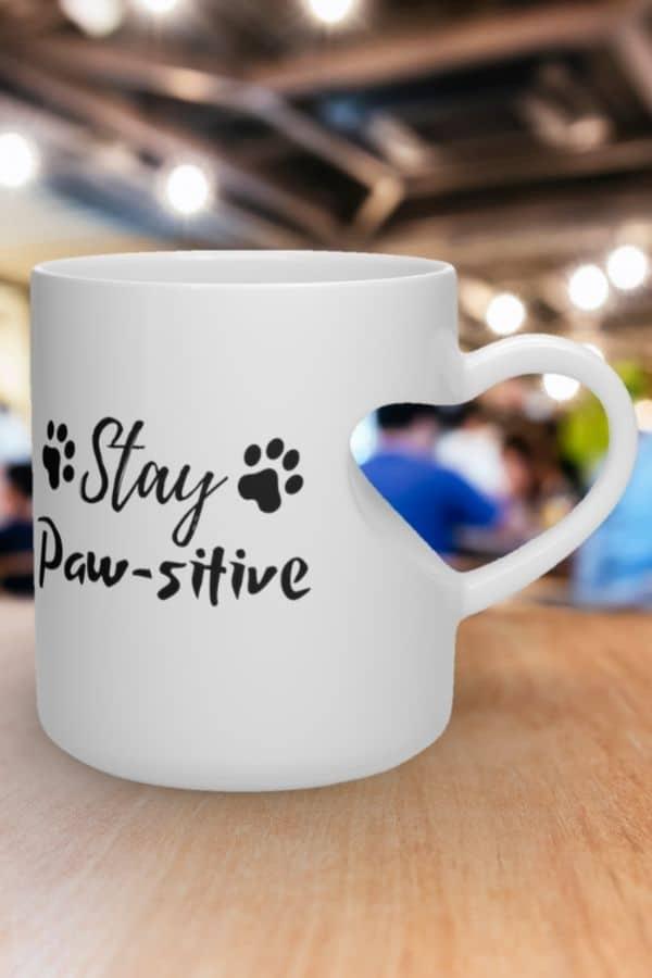 'Stay Paw-sitive' Heart Shape Mug